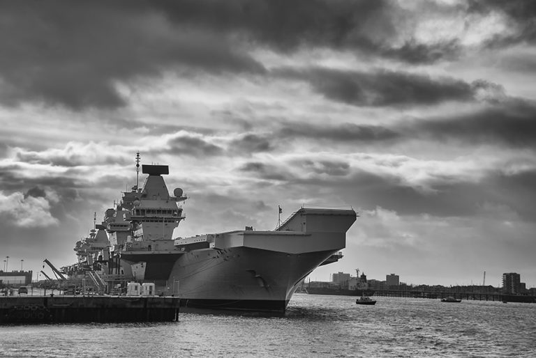 The Royal Navy aircraft carrier HMS Queen Elizabeth